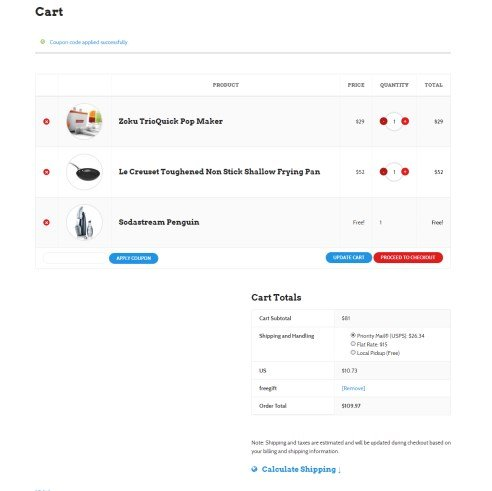 Woocommerce Free Gift Coupons in Action
