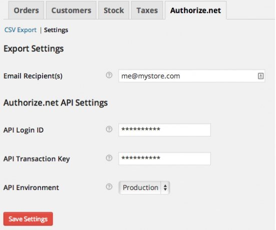 WooCommerce Authorize.Net Reporting Setting Page