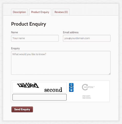 WooCommerce Product Enquiry Form in Action