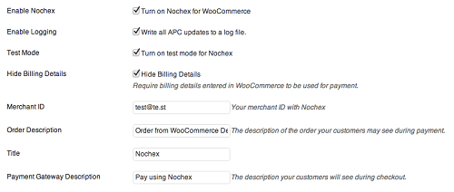 WooCommerce Nochex Setting Pages