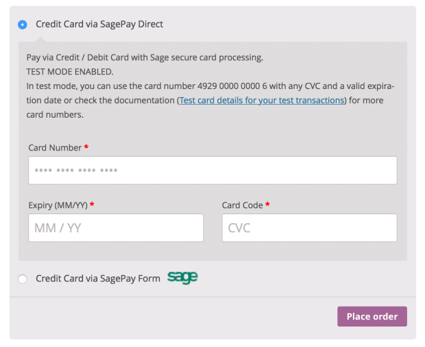 Sagepay Checkout