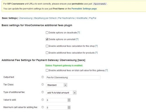 WooCommerce Payment Gateway Based Fees Setting Pages