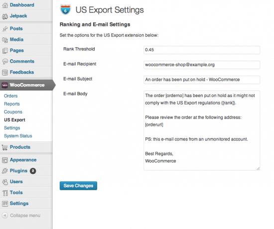 WooCommerce US Export compliance settings screen